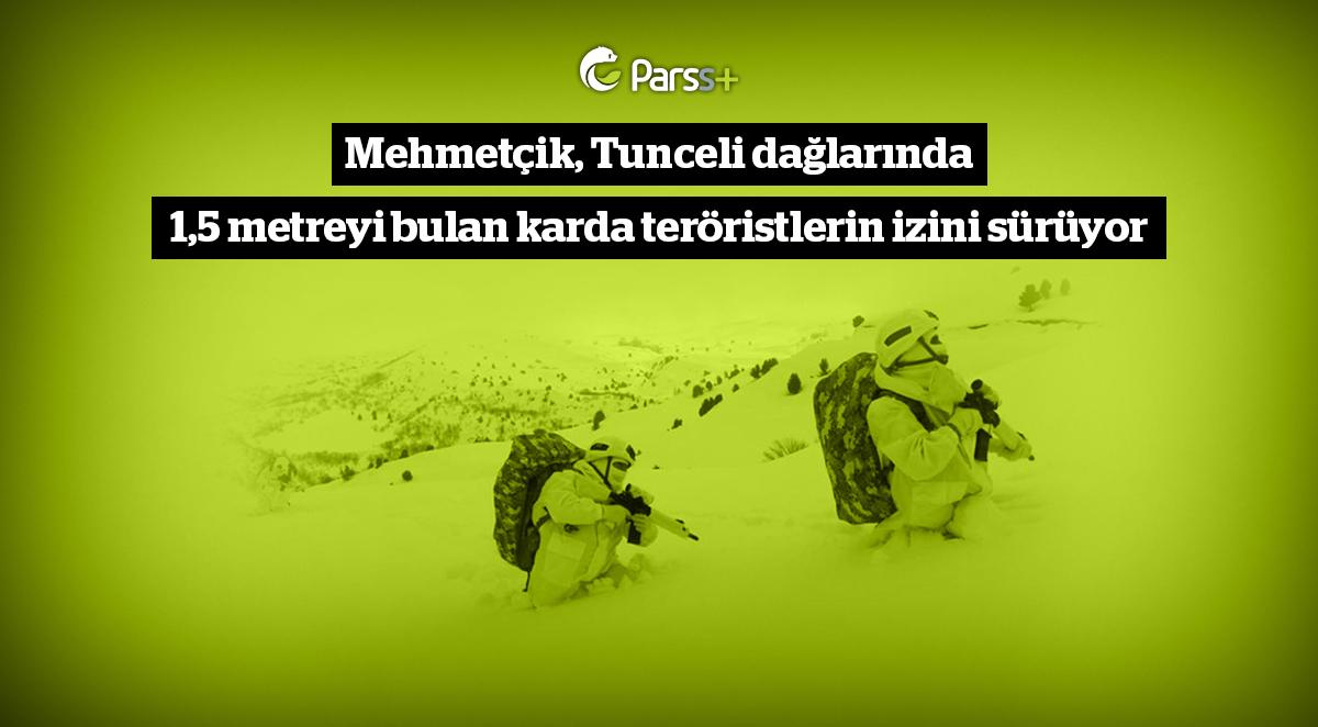 Mehmetçik, Tunceli dağlarında 1,5 metreyi bulan karda teröristlerin izini sürüyor